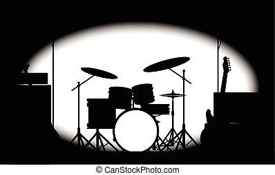 banda, medio tono, cartel, roca