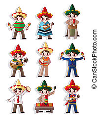 banda, musica, icona, set, cartone animato, messicano
