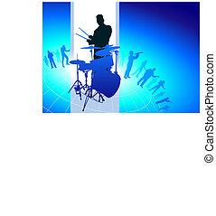 banda, musicale, fondo, tamburi, giocatore