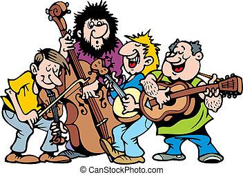 banda, muzyka, szczęśliwy