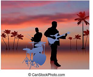 banda, niebo, tło, muzyka