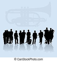 banda, ottone, set, silhouette