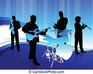 banda, plano de fondo, resumen, azul, musical
