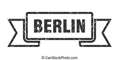 banda, ribbon., berlín, señal, grunge, negro
