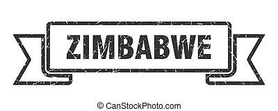 banda, ribbon., señal, grunge, zimbabwe, negro