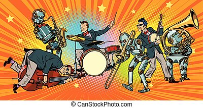banda, roca, seres humanos, n, rollo, jazz, robotes