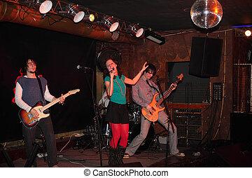 banda, rock, palcoscenico