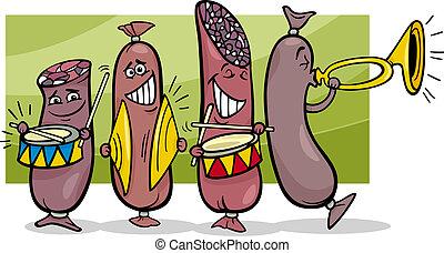 banda, salchichas, caricatura, ilustración