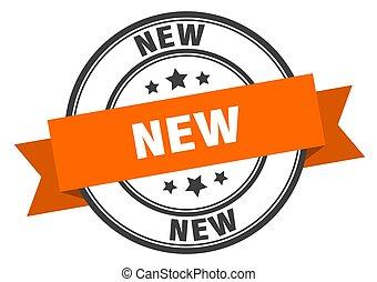 banda, segno., label., nuovo, arancia