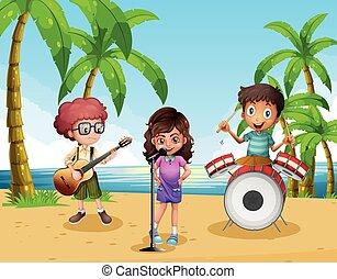 banda, spiaggia, musica, gioco, bambini
