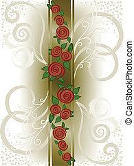 banda, verticale, rose