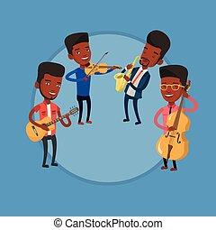 banda, zeneértők, instruments., játék, zenés