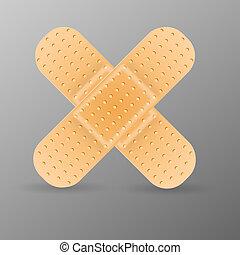 bandage adesivo, isolado, ligado, cinzento, experiência.