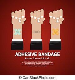 bandage., adhesivo, conjunto