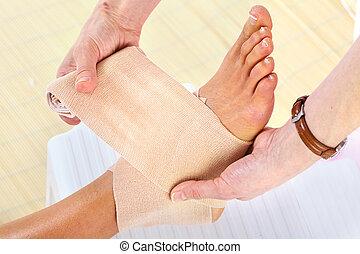 Bandage. - Bandage and hurted leg. Health care.