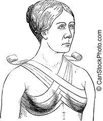 Bandage crosses two breasts, vintage engraving.