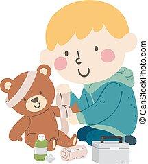 bandage, gosse, garçon, jouet, illustration, ours