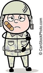 Bandage on Face - Cute Army Man Cartoon Soldier Vector Illustration