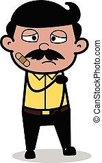 Bandage on Face - Indian Cartoon Man Father Vector Illustration