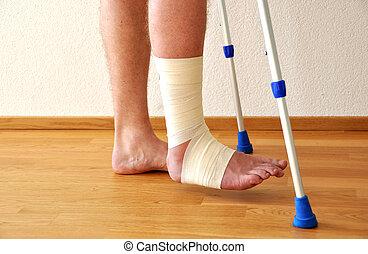 bandage, på, den, ben