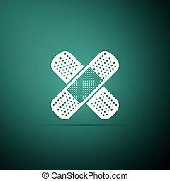 Bandage plaster icon isolated on green background. Medical plaster, adhesive bandage, flexible fabric bandage. Flat design. Vector Illustration