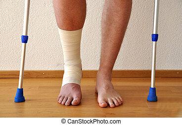 bandage, sur, les, jambe
