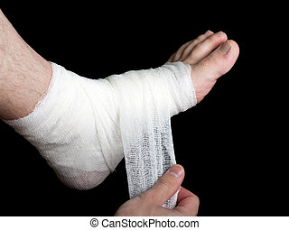 Bandage - White medicine bandage on human injury foot