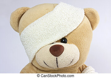 bandaged bear head and eye
