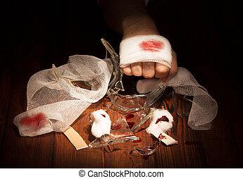 bandaged, ferido, por, mão, contra, a, escuro, wood.