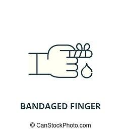 Bandaged finger vector line icon, linear concept, outline sign, symbol