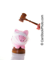 bandaged piggy bank with legal gavel