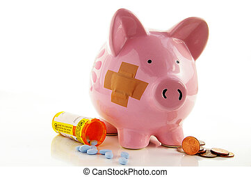 Bandaged piggy bank with pills and coins