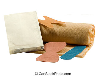 bandages in various sizes for first-aid, isolated