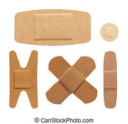 Various bandage shapes sizes and colors isolated on a white background.