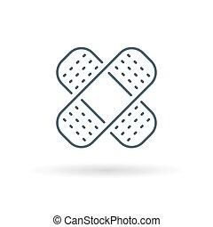 bandaid, fondo blanco, icono