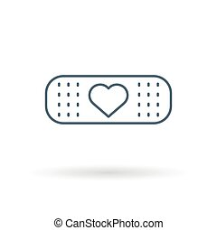 Bandaid heart icon white background