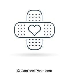Bandaid heart icon white background