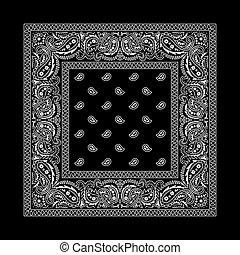 Bandana - 2 Black - Black bandana with white ornaments. No ...