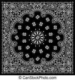 Bandana Black - Black bandana with white ornaments. No ...
