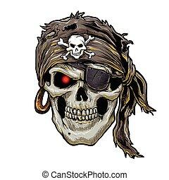 bandana, czaszka, czarnoskóry, pirat