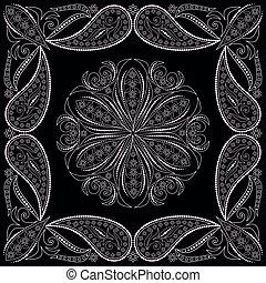 bandana, design-, square., paisley, druk