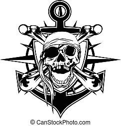 bandana, emblema, cranio