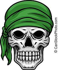 bandana, groene, spotprent, schedel