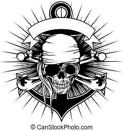 bandana, pirate, crâne