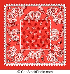 Bandana red paisley vector design. Classic square scarf.