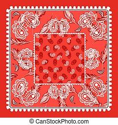 bandana, wektor, paisley, czerwony, design.