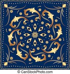 Bandana with gold pattern on a blue background