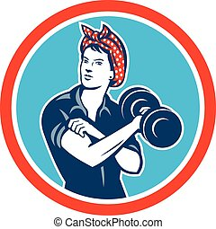 Bandana Woman Lifting Dumbbell Circle Retro - Illustration...