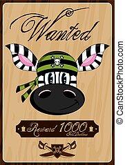 Bandana Zebra Pirate Wanted Poster