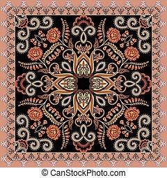 bandanna, 와, 꽃의, 주제, 장식식의, 와, 회색, 컬, 통하고 있는, a, 어두운 배경, 와, a, 복숭아, 경계